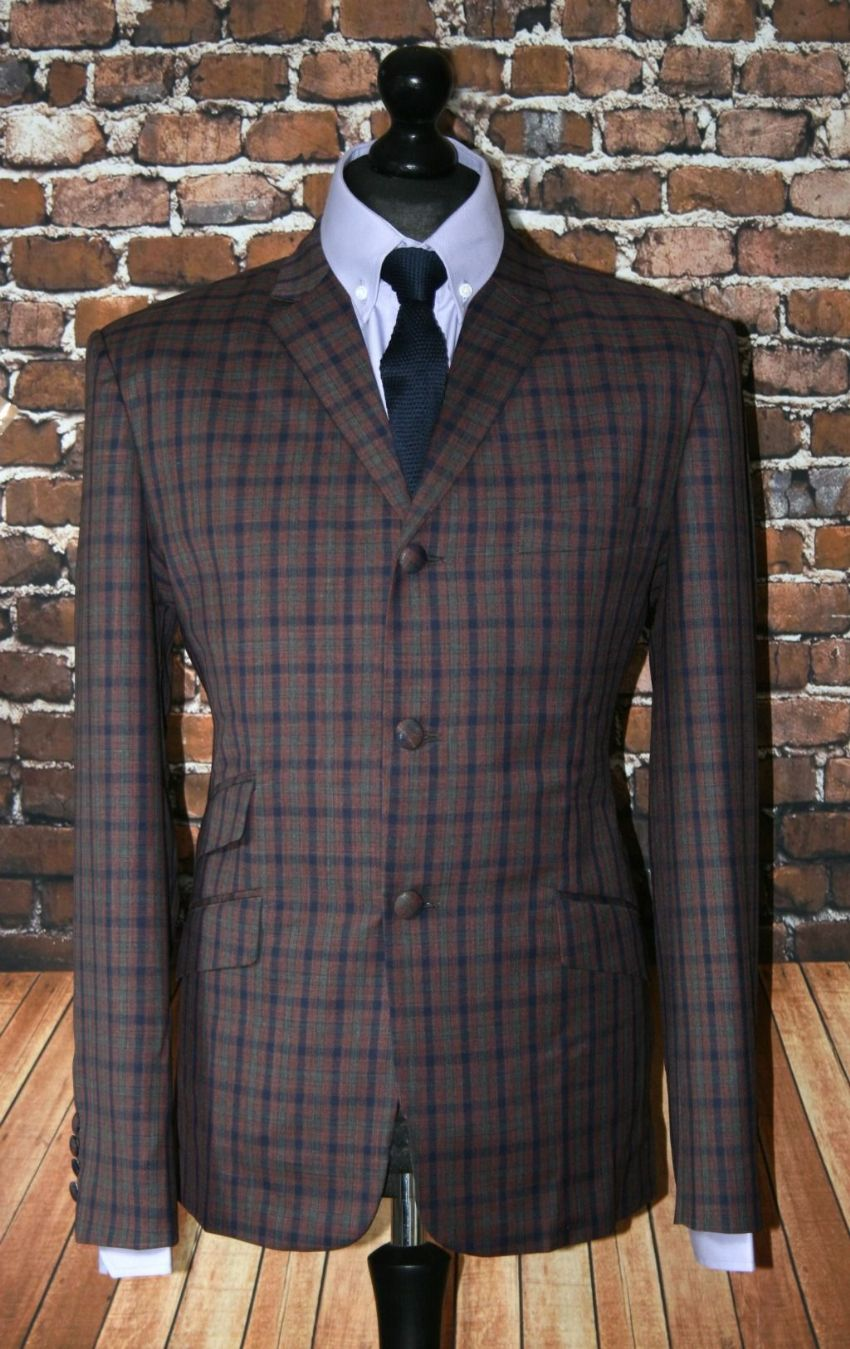 """Eugene""  Small Maroon Navy Khaki Checked Suit"